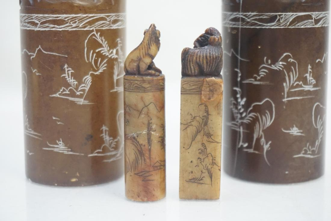 4 CHINESE CARVED SOAPSTONE SEALS - 6