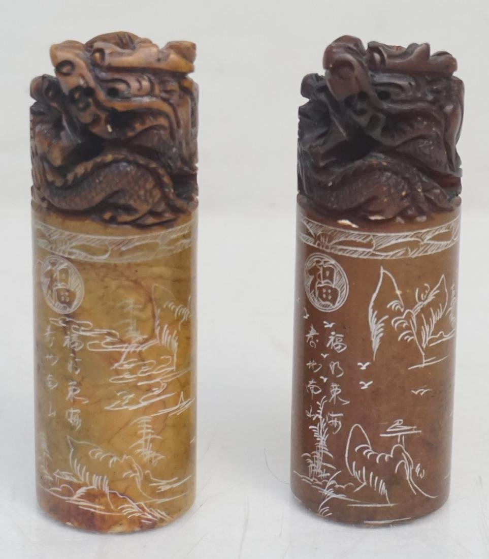 2 CHINESE CARVED SOAPSTONE DRAGON SEALS
