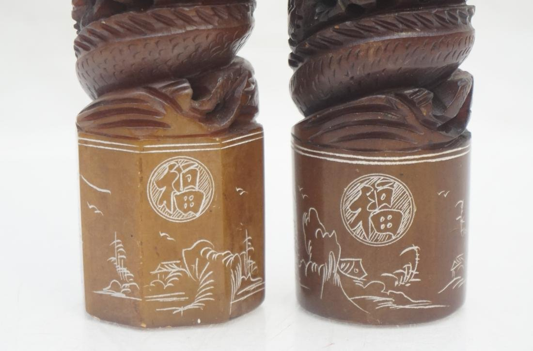 2 CHINESE CARVED SOAPSTONE DRAGON SEALS - 3