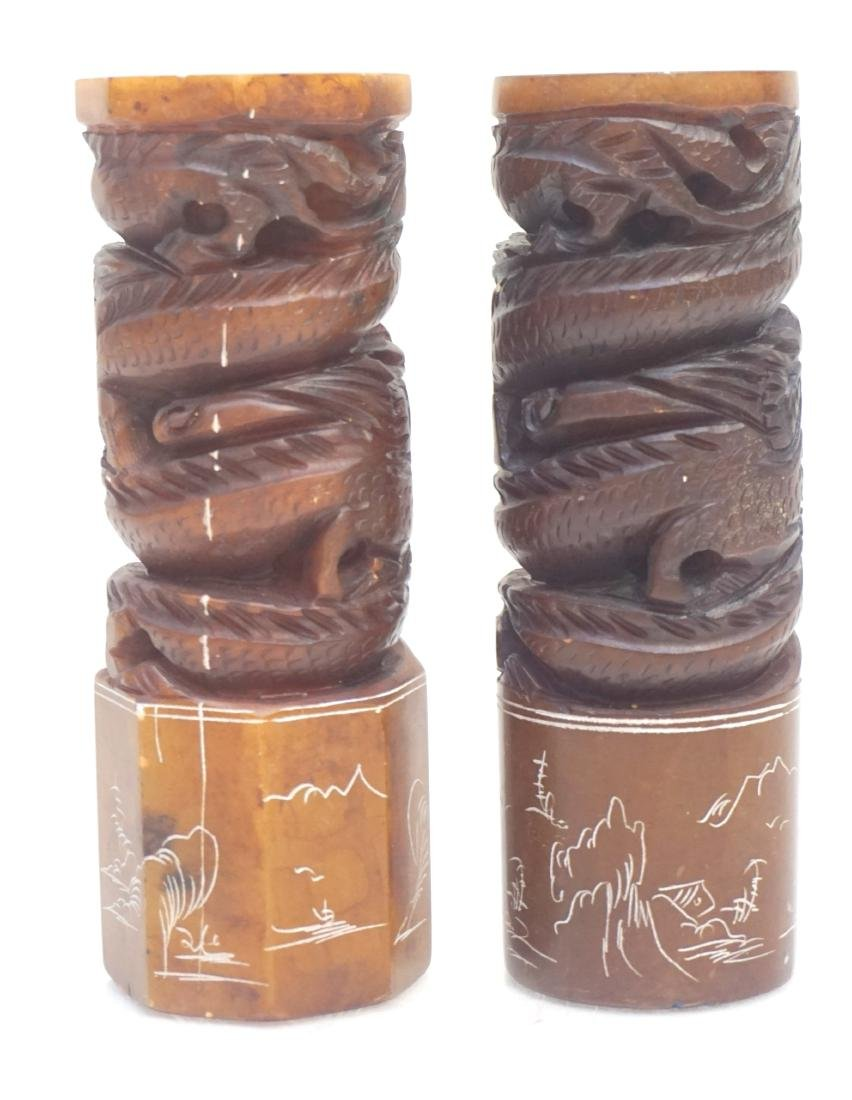 2 CHINESE CARVED SOAPSTONE DRAGON SEALS - 5
