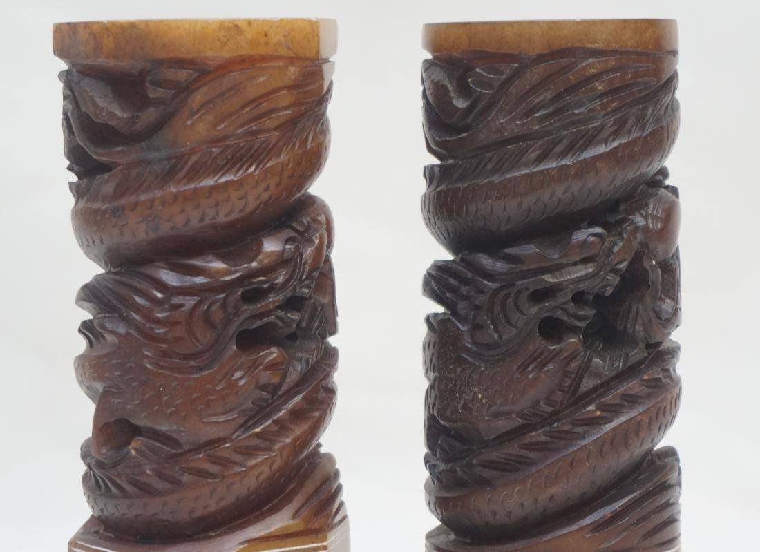 2 CHINESE CARVED SOAPSTONE DRAGON SEALS - 6
