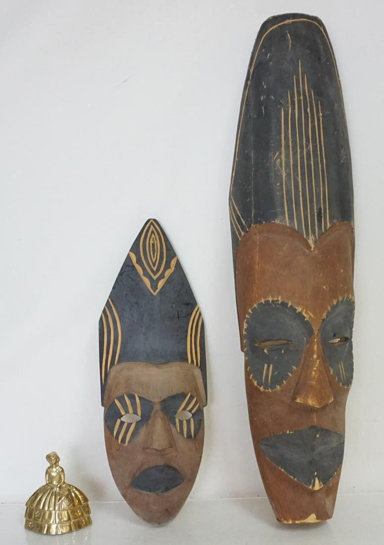 2 PACIFIC ISLANDS CARVED MASKS - 10