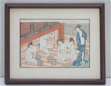 KORYUSAI INTERIOR OF A BATHHOUSE WOODBLOCK