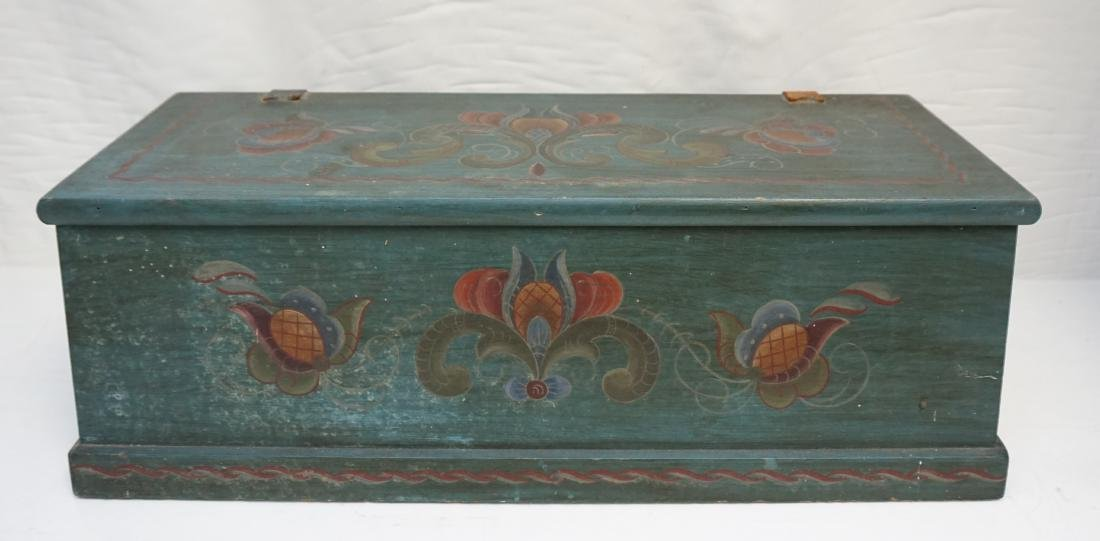 WOOD PAINTED FOLK ART BOX
