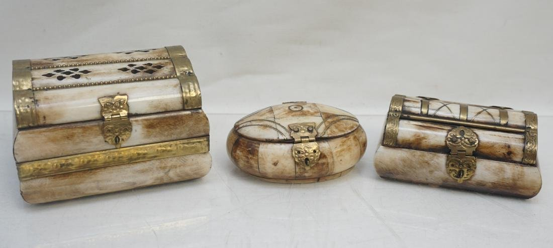 3 MIDDLE EASTERN CAMEL BONE TRINKET BOXES