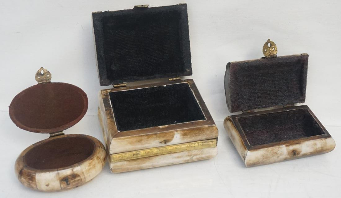 3 MIDDLE EASTERN CAMEL BONE TRINKET BOXES - 4