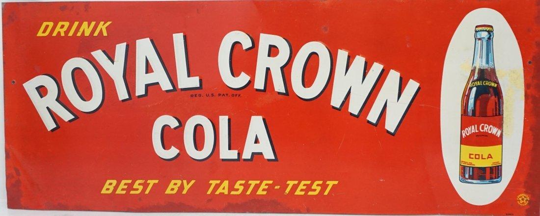 1950s ROYAL CROWN COLA TIN SIGN