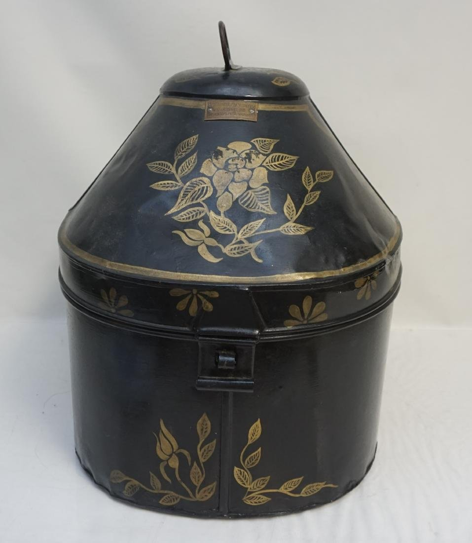 TOLEWARE 19th c. ENGLISH HAT BOX