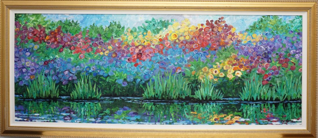 LARGE E.W. SCHAUP PAINTING FLORAL REFLECTIONS