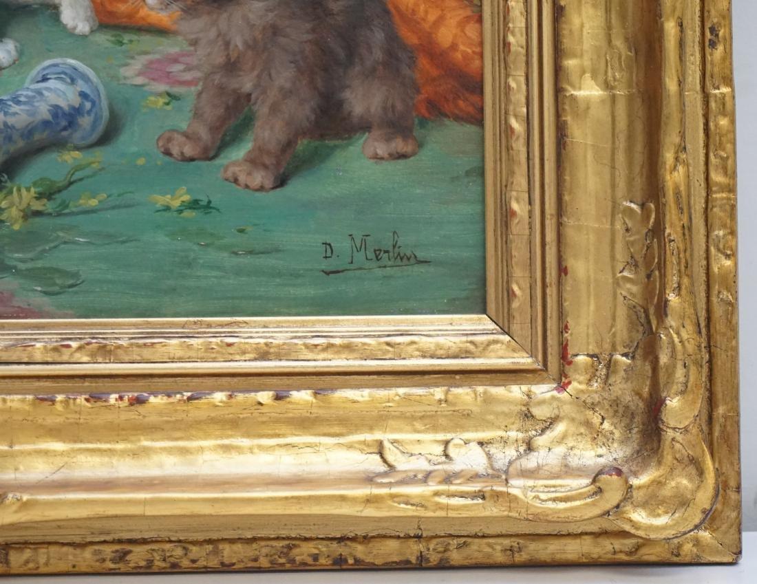 DANIEL MERLIN (1861-1933) KITTENS OIL ON PANEL - 8