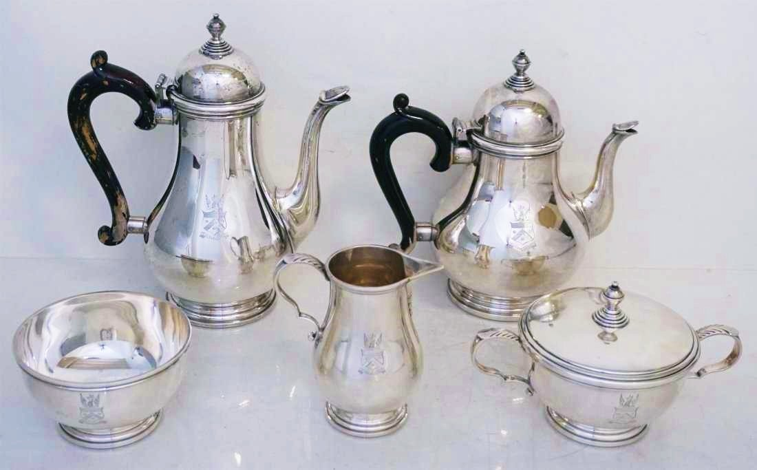 5 PC GORHAM STERLING GEORGE I TEA SERVICE