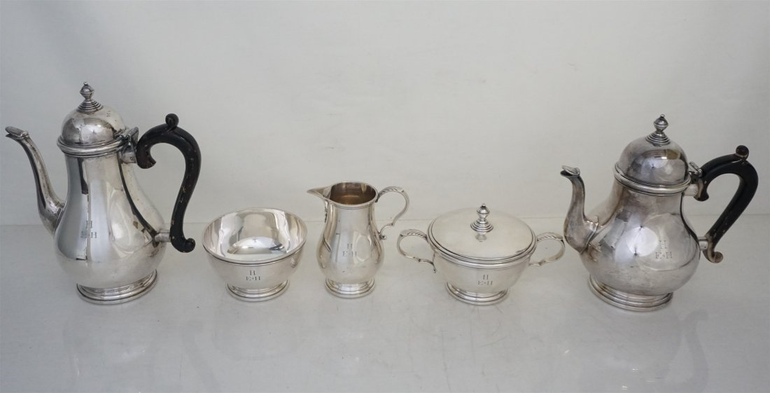 5 PC GORHAM STERLING GEORGE I TEA SERVICE - 7