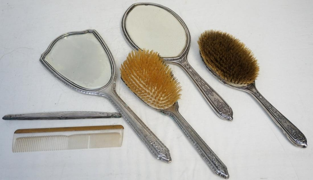 2 STERLING SILVER BRUSH / MIRROR SETS - 8