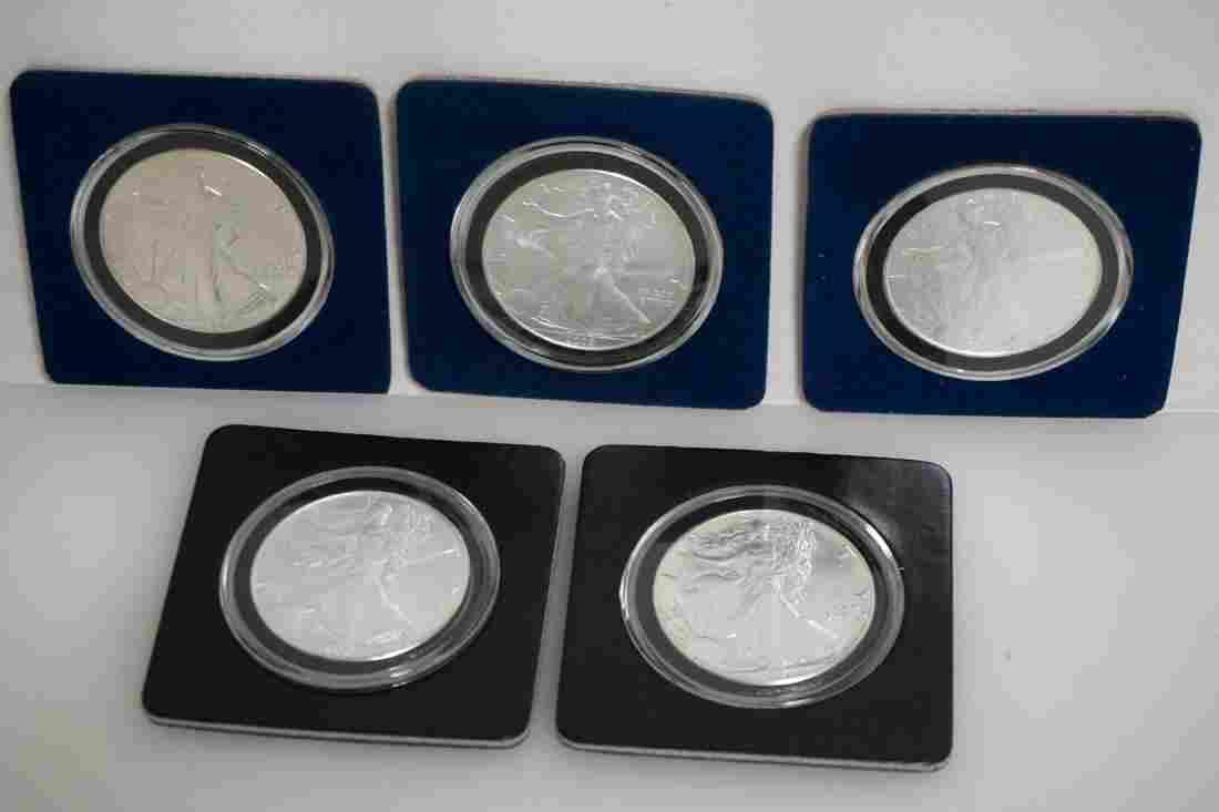 5 AMERICAN SILVER EAGLE COINS