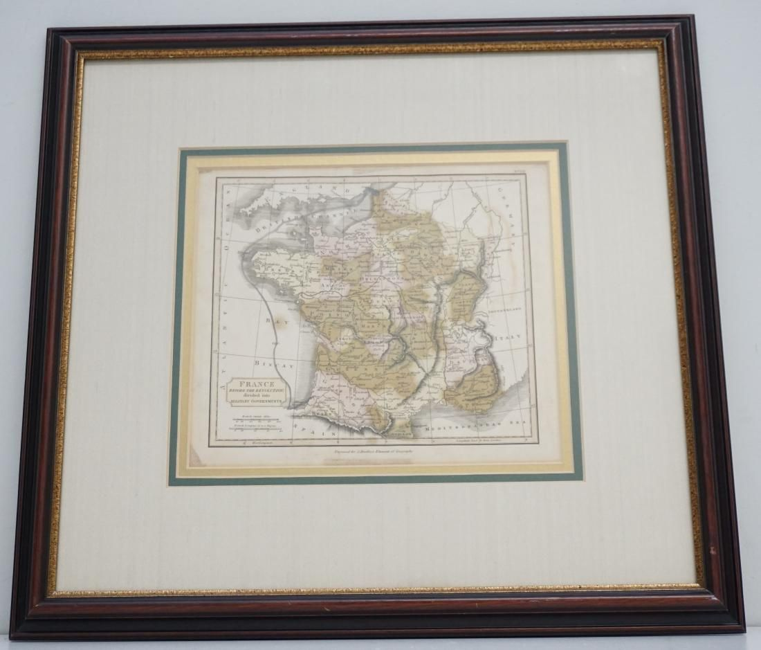 19TH C MAP OF FRANCE BEFORE THE REVOLUTION