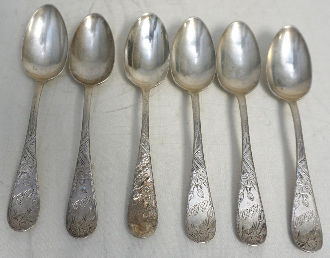6 TOWLE STERLING CLOVER 1887 SPOONS