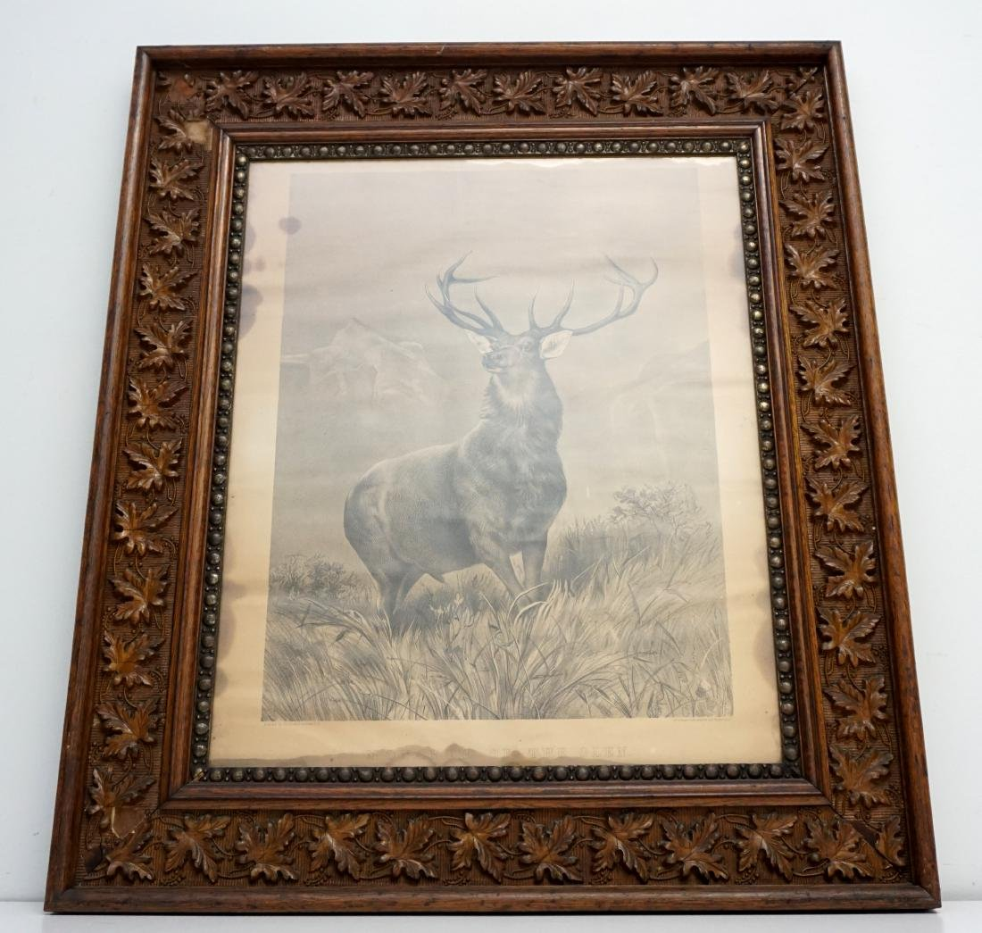 CARVED OAK FRAMED MONARCH OF THE GLEN