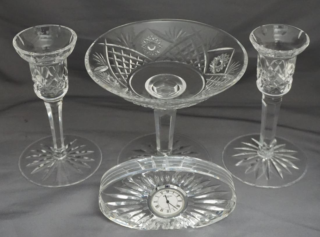 4 PC WATERFORD COMPOTE / CANDLESTICKS / CLOCK