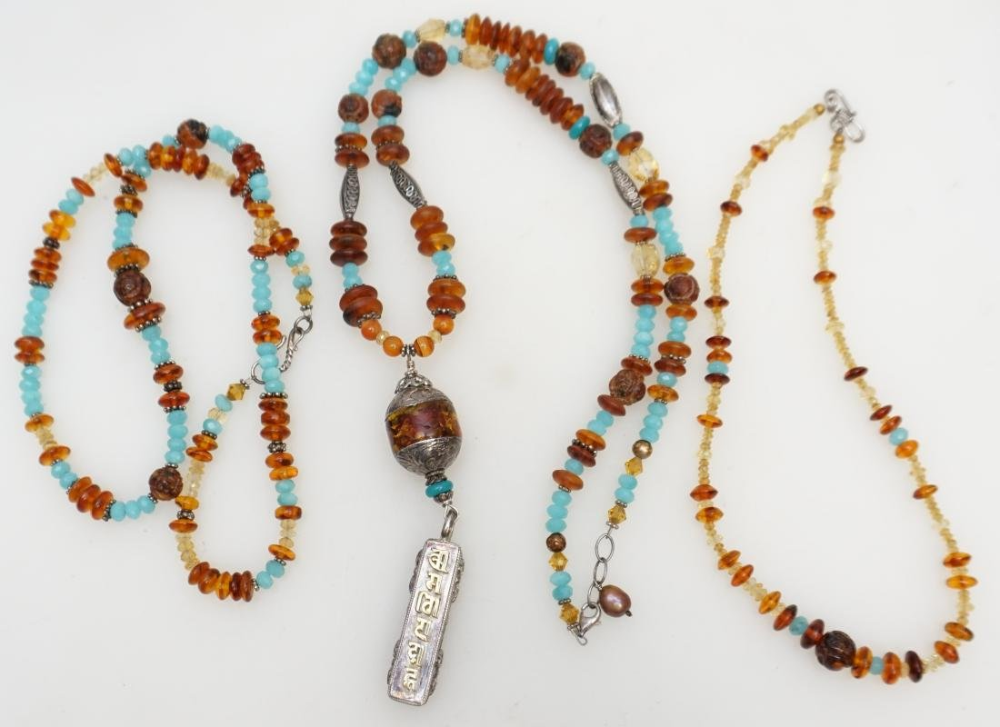 3 AMBER STERLING NECKLACES