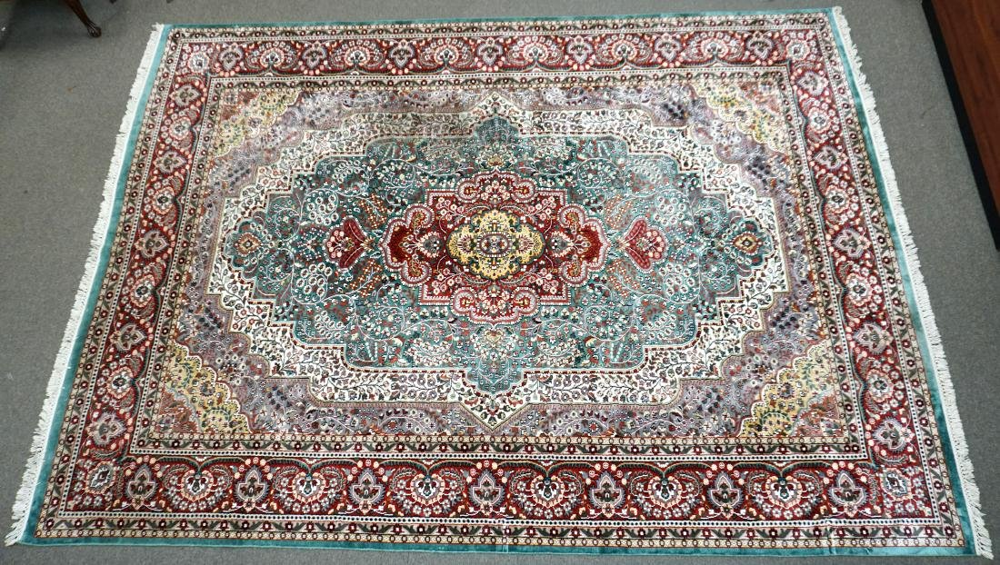 LARGE 12 FT KASHMIR HAND KNOTTED SILK RUG INDIA
