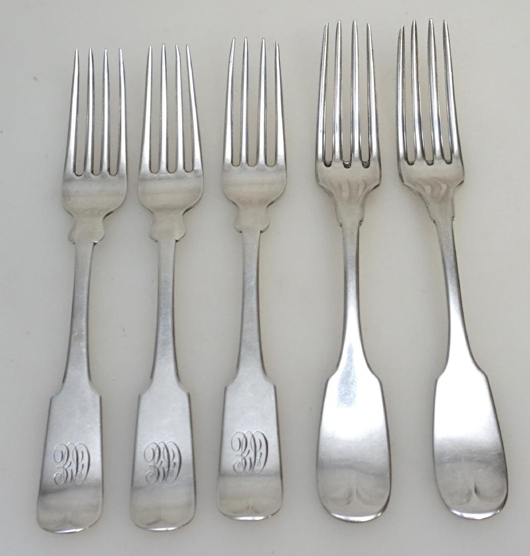5 AMERICAN COIN SILVER FORKS