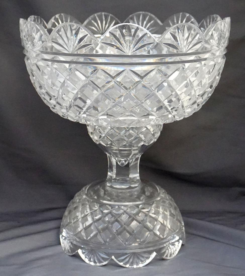 LARGE BRILLIANT CUT GLASS CRYSTAL PUNCH BOWL STAND