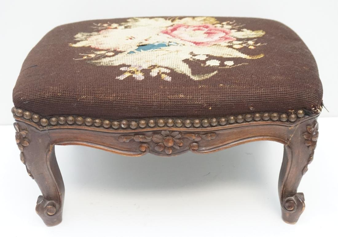 FRENCH CARVED WALNUT FOOT STOOL