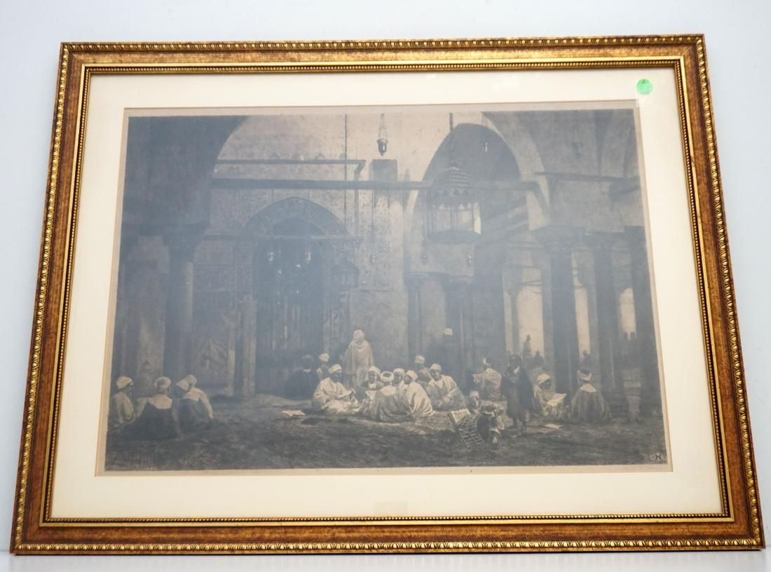 SIGNED AXEL HAIG ETCHING 1890 ARAB STUDENTS