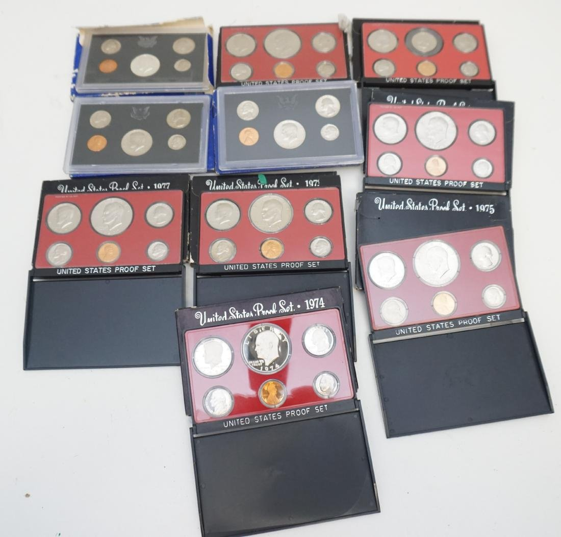 10 VINTAGE 1970S PROOF SETS