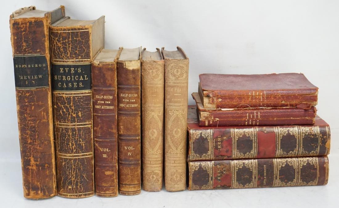 10 ANTIQUE 19th c BOOKS