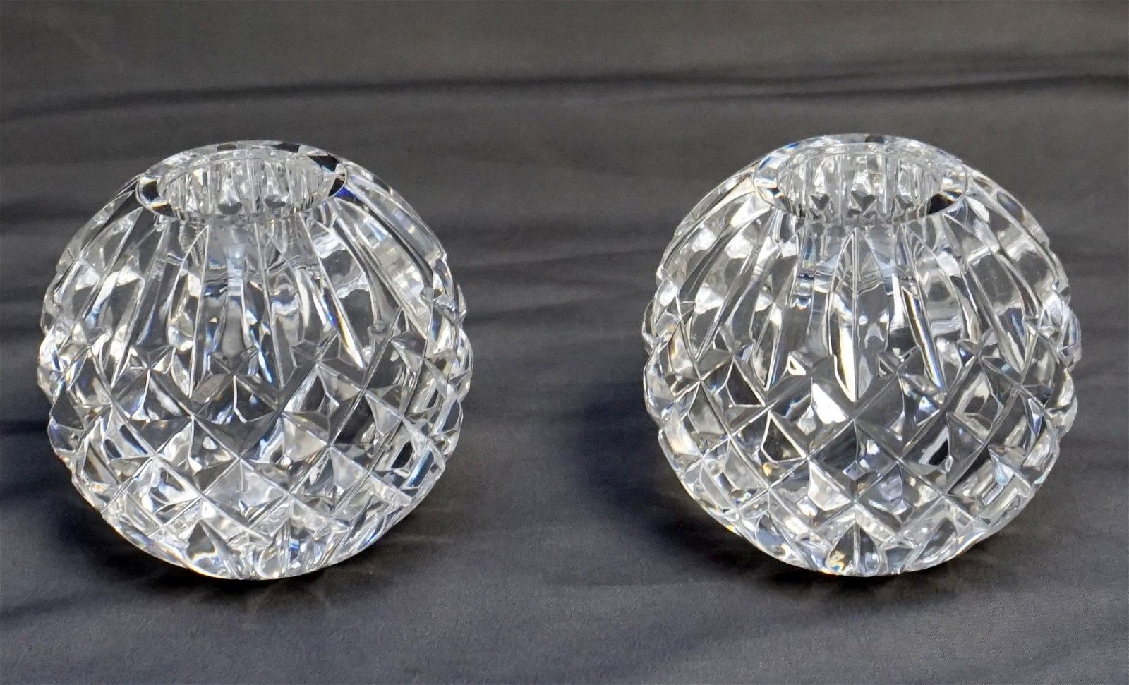 PAIR WATERFORD CRYSTAL CANDLE HOLDERS