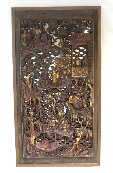 19th C Chinese Carved Wood Panel