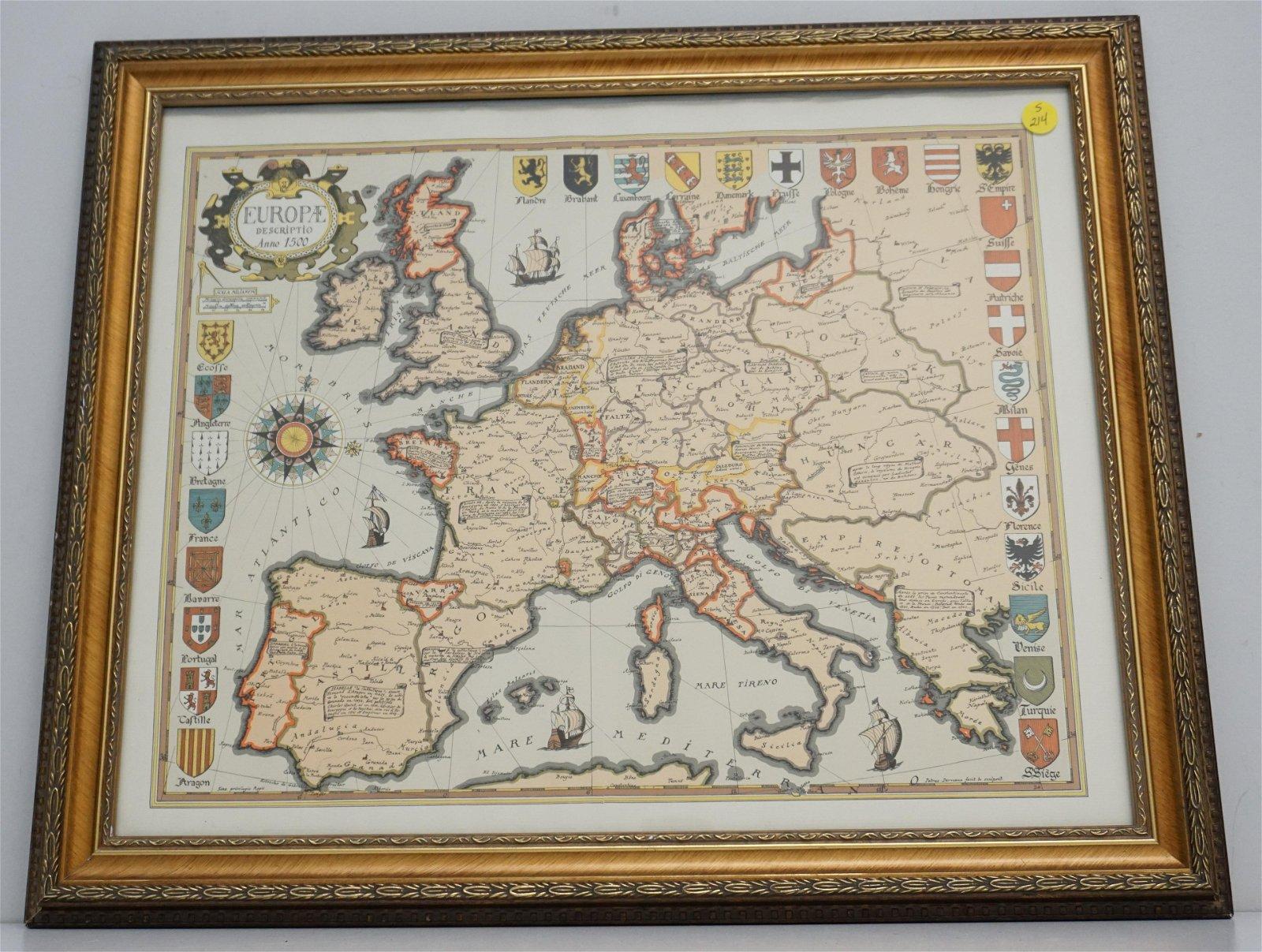 MAP OF EUROPE PRINT FRAMED