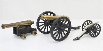 3 VINTAGE CAST IRON BRASS TOY CANNONS