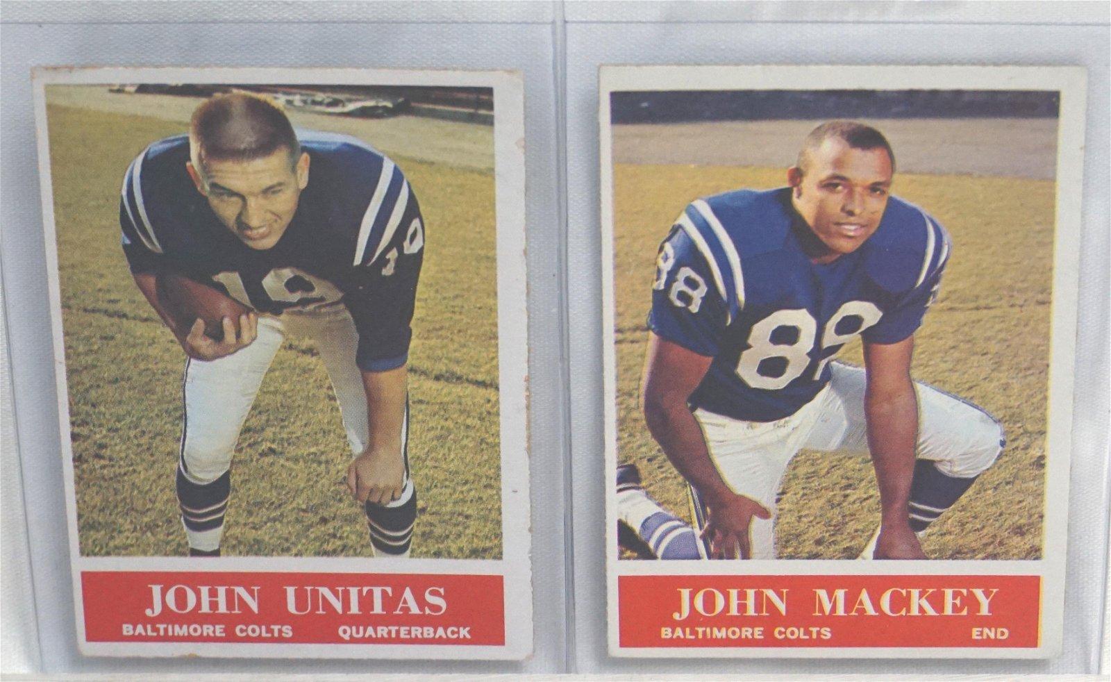 TWO 1964 #12 JOHN UNITAS #3 JOHN MACKEY