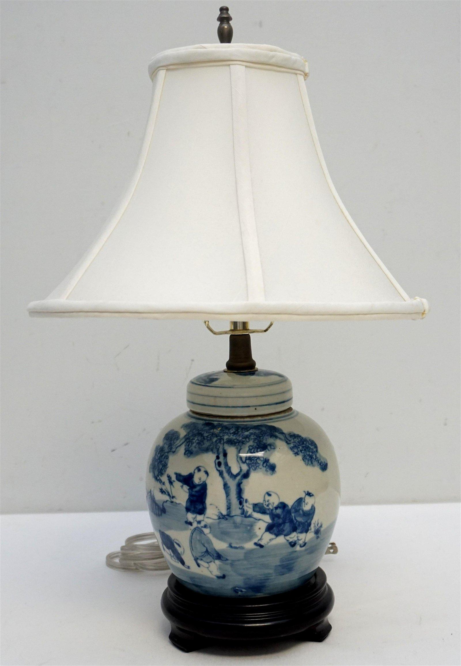 CHINESE BLUE & WHITE LAMP