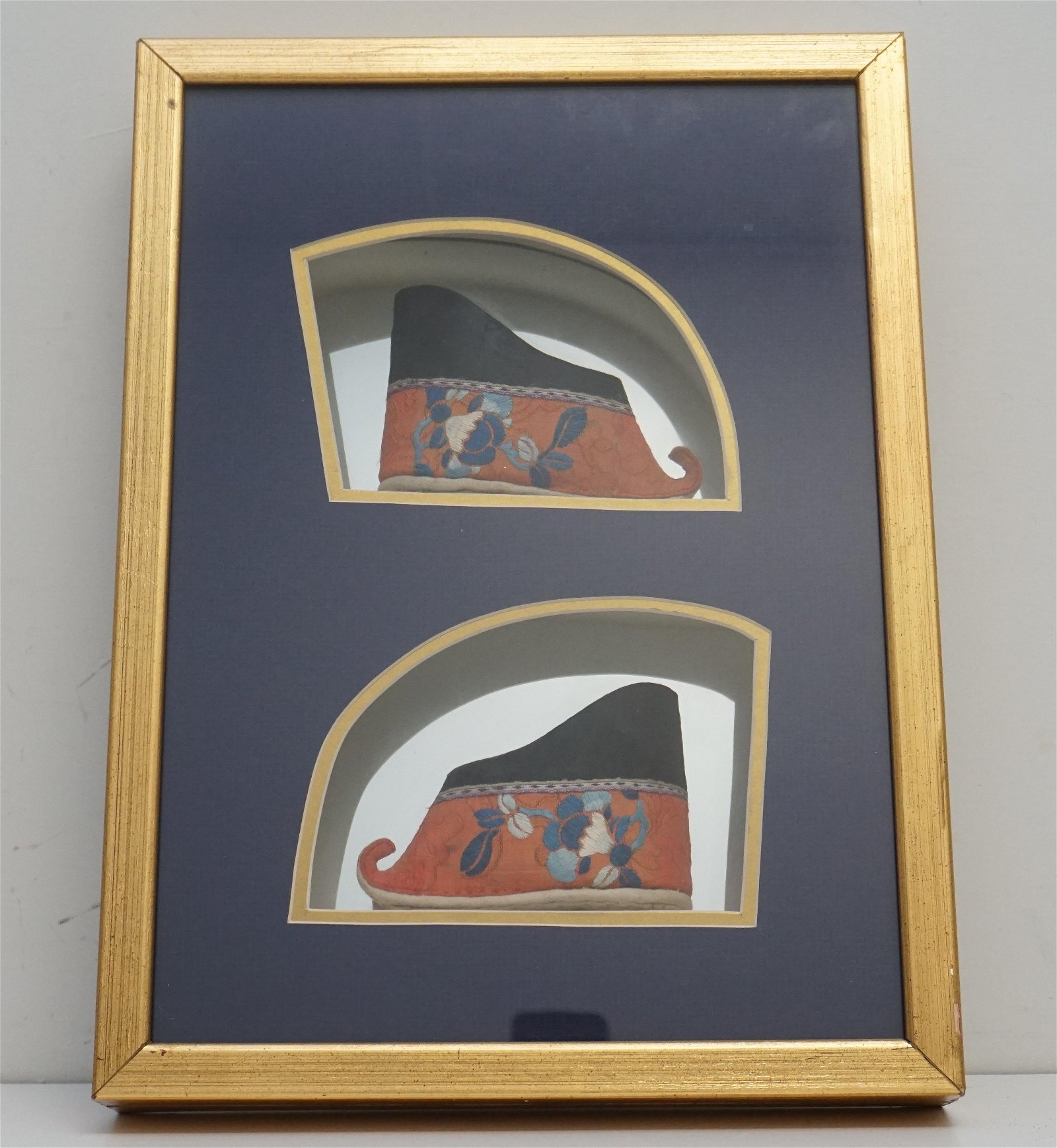 FRAMED QING DYNASTY CHINESE LOTUS SLIPPERS