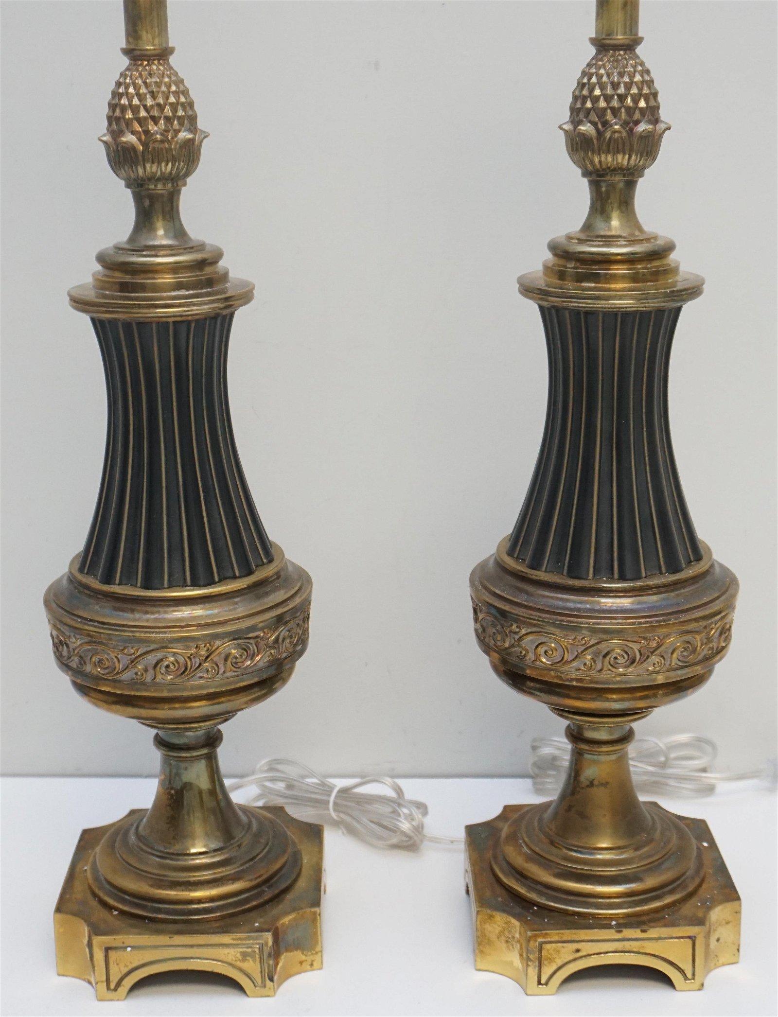 PAIR STIFFEL PINEAPPLE ENAMEL & BRASS LAMPS