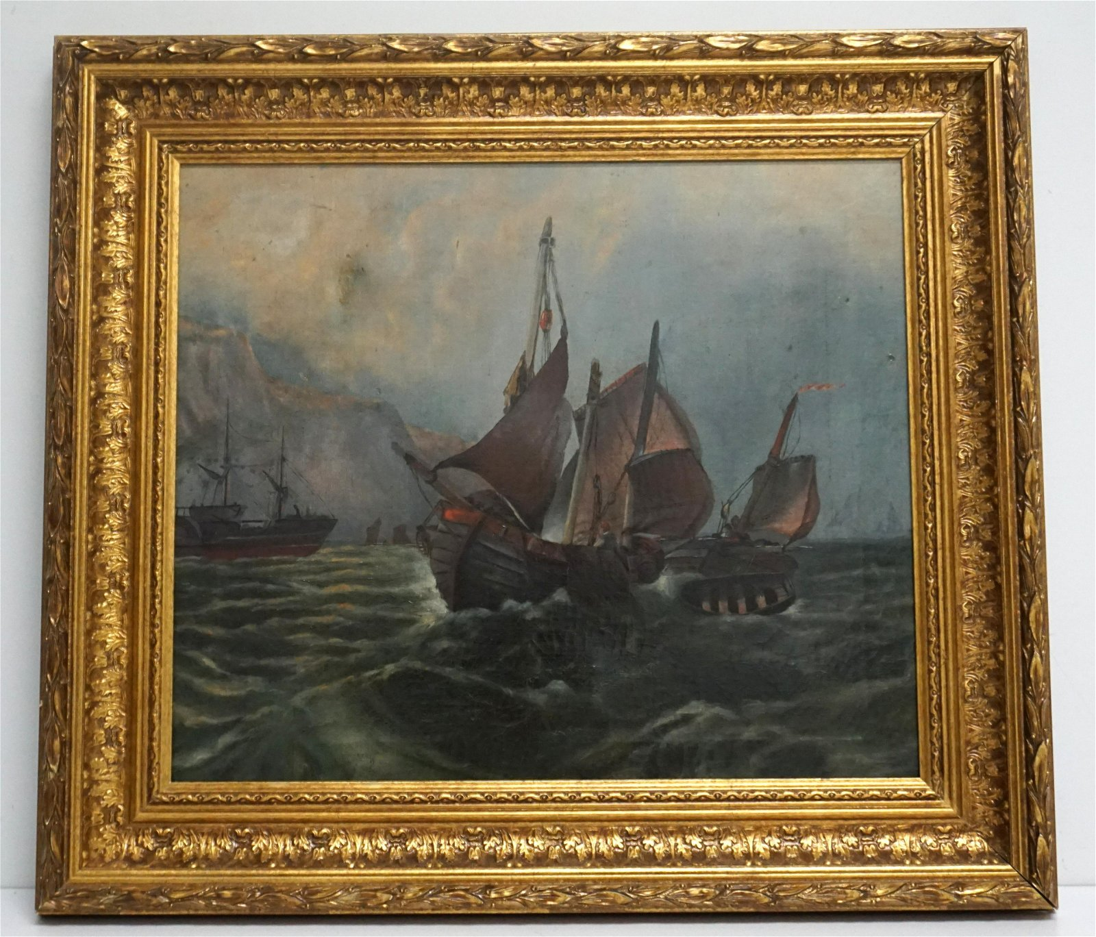 19th c OYSTER BOATS OIL ON CANVAS