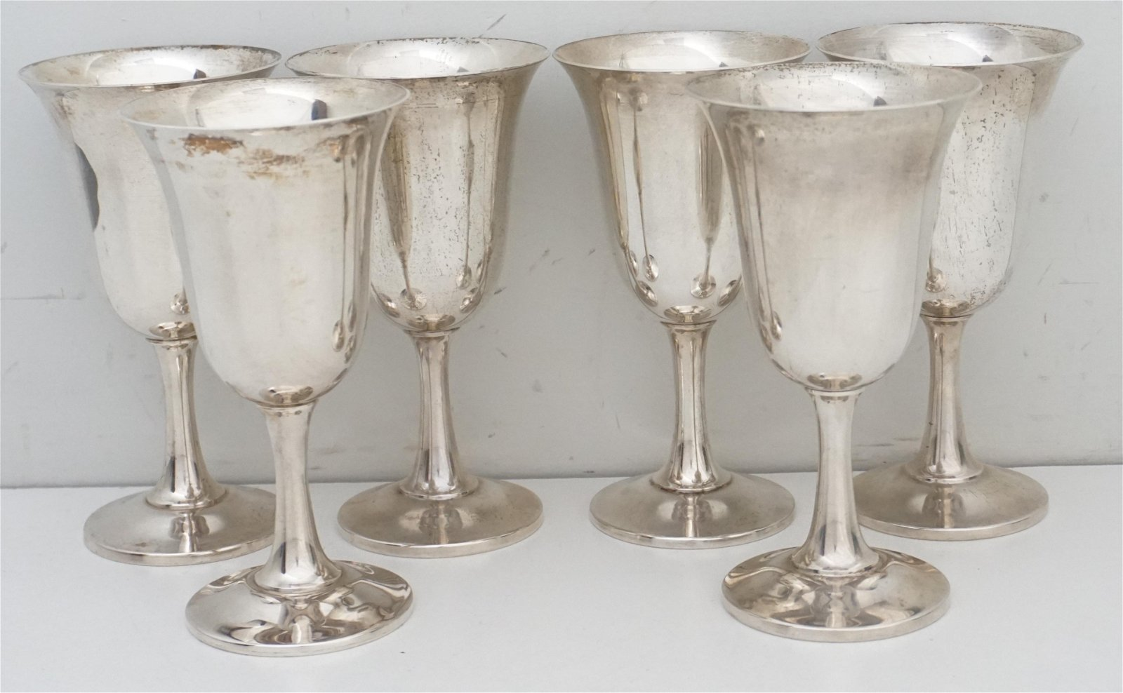 6 STERLING SILVER WATER GOBLETS