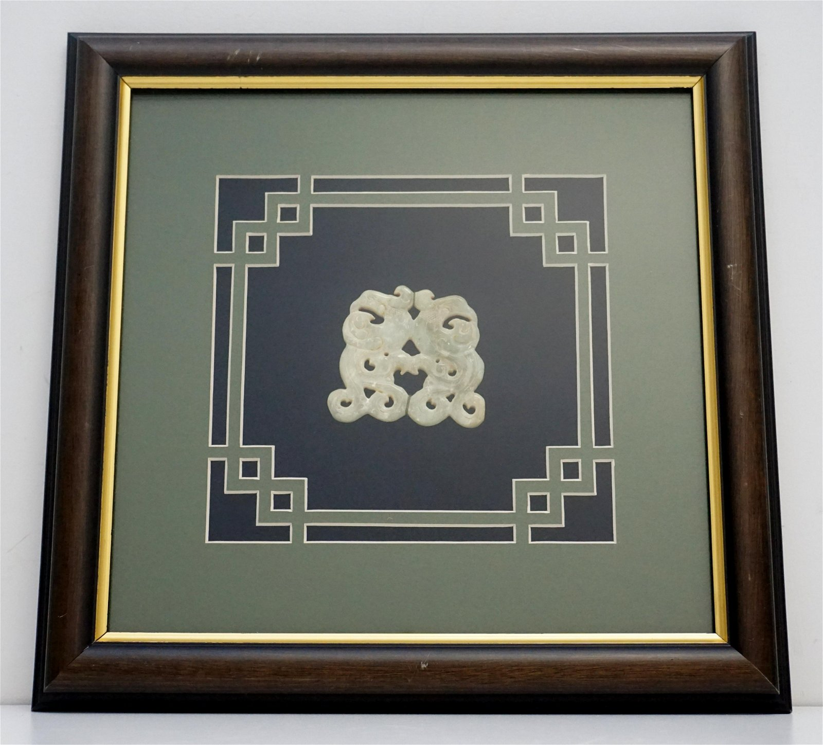 FRAMED 19th c CHINESE JADE ROUNDEL