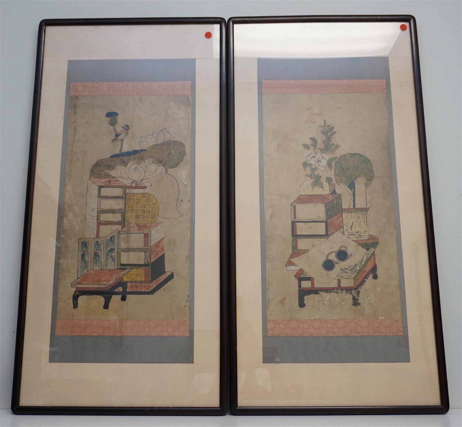 PAIR MID CENTURY KOREAN WOODBLOCKS