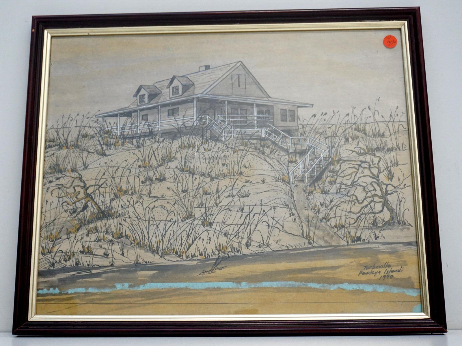 VINTAGE PEN + INK WITH GOUACHE PAWLEYS ISLAND