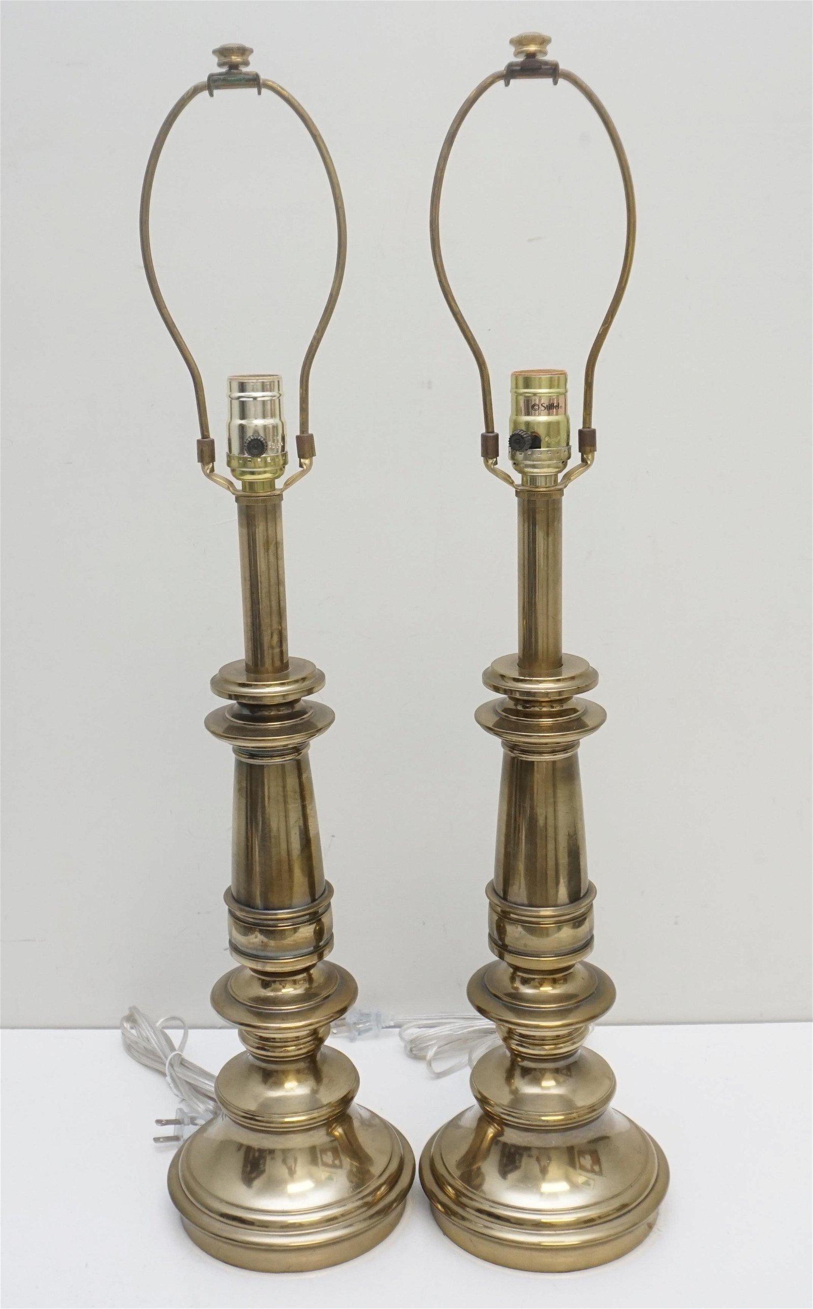 PAIR VINTAGE STIFFEL BRASS LAMPS