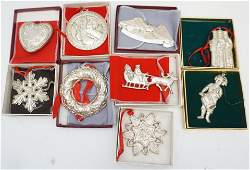 9 STERLING SILVER CHRISTMAS ORNAMENTS