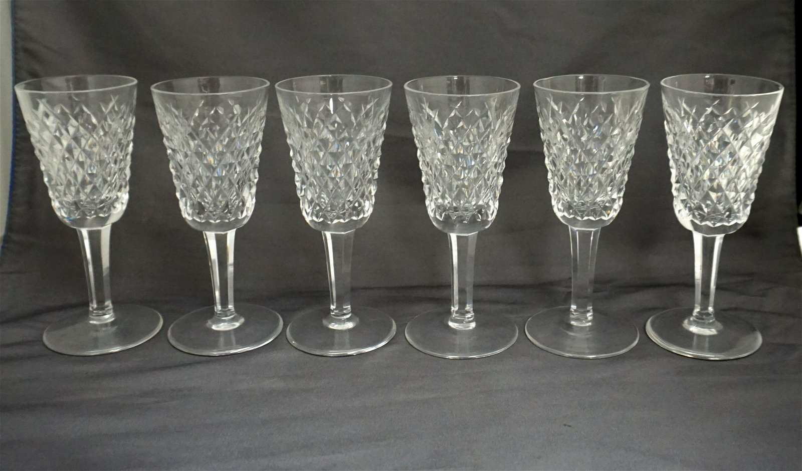6 WATERFORD CRYSTAL ALANA SHERRY GLASSES