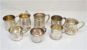 8 STERLING CHRISTENING CUPS