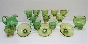 16 PC EAPG COLORADO / JEWELED MEDALLION CUPS