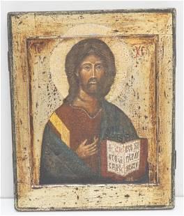 POLISH ICON ON WOOD PANEL CHRIST