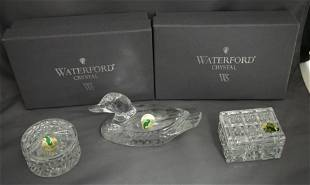 3 PC WATERFORD CRYSTAL DUCK & TRINKETS